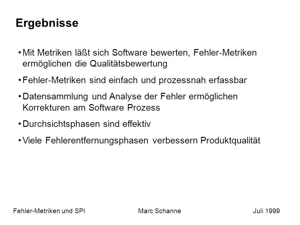 Ergebnisse Fehler-Metriken und SPIMarc SchanneJuli 1999 Mit Metriken läßt sich Software bewerten, Fehler-Metriken ermöglichen die Qualitätsbewertung Fehler-Metriken sind einfach und prozessnah erfassbar Datensammlung und Analyse der Fehler ermöglichen Korrekturen am Software Prozess Durchsichtsphasen sind effektiv Viele Fehlerentfernungsphasen verbessern Produktqualität