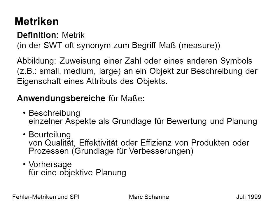 Metriken (2) Fehler-Metriken und SPIMarc SchanneJuli 1999 Projekte beginnen mit Träumen: Metriken vereinfachen die Entwicklung (Planung: Ressourcen, Zeit, Größe) Gütekriterien, Anforderungen an Maße und Metriken: Wohldefiniertheit Objektivität Zuverlässigkeit Validität Aussagekraft Sinnhaltigkeit Berechenbarkeit