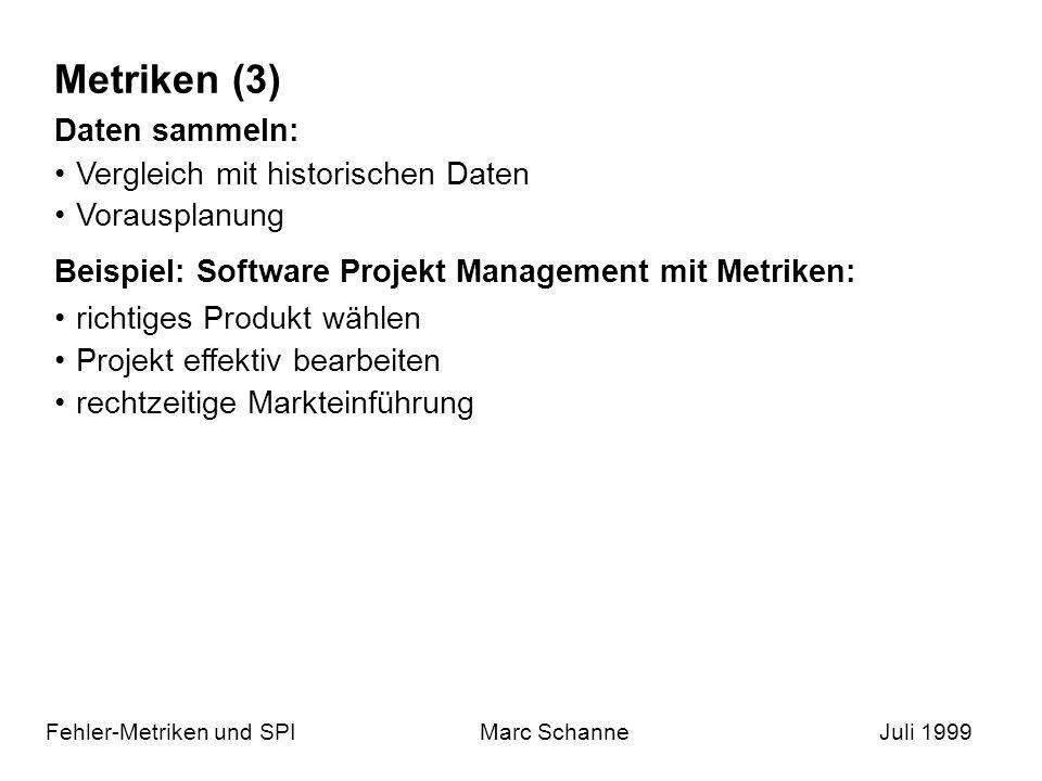Metriken (3) Fehler-Metriken und SPIMarc SchanneJuli 1999 Daten sammeln: Vergleich mit historischen Daten Vorausplanung Beispiel: Software Projekt Management mit Metriken: richtiges Produkt wählen Projekt effektiv bearbeiten rechtzeitige Markteinführung