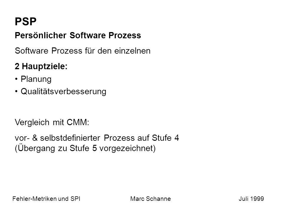 PSP Fehler-Metriken und SPIMarc SchanneJuli 1999 Persönlicher Software Prozess Software Prozess für den einzelnen 2 Hauptziele: Planung Qualitätsverbesserung Vergleich mit CMM: vor- & selbstdefinierter Prozess auf Stufe 4 (Übergang zu Stufe 5 vorgezeichnet)
