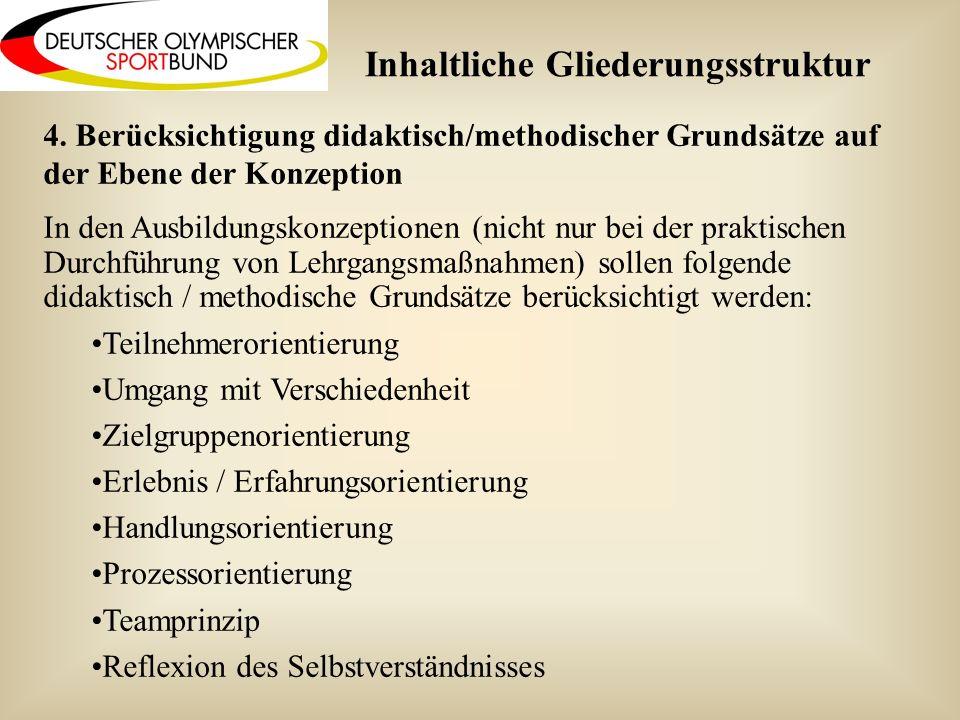 4. Berücksichtigung didaktisch/methodischer Grundsätze auf der Ebene der Konzeption In den Ausbildungskonzeptionen (nicht nur bei der praktischen Durc