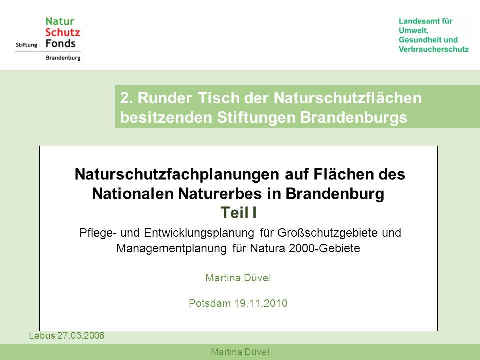 Martina Düvel Lebus 27.03.2006 Naturschutzfachplanungen auf Flächen des Nationalen Naturerbes in Brandenburg Teil I Pflege- und Entwicklungsplanung fü