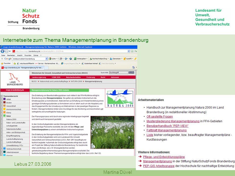 Martina Düvel Lebus 27.03.2006 Internetseite zum Thema Managementplanung in Brandenburg