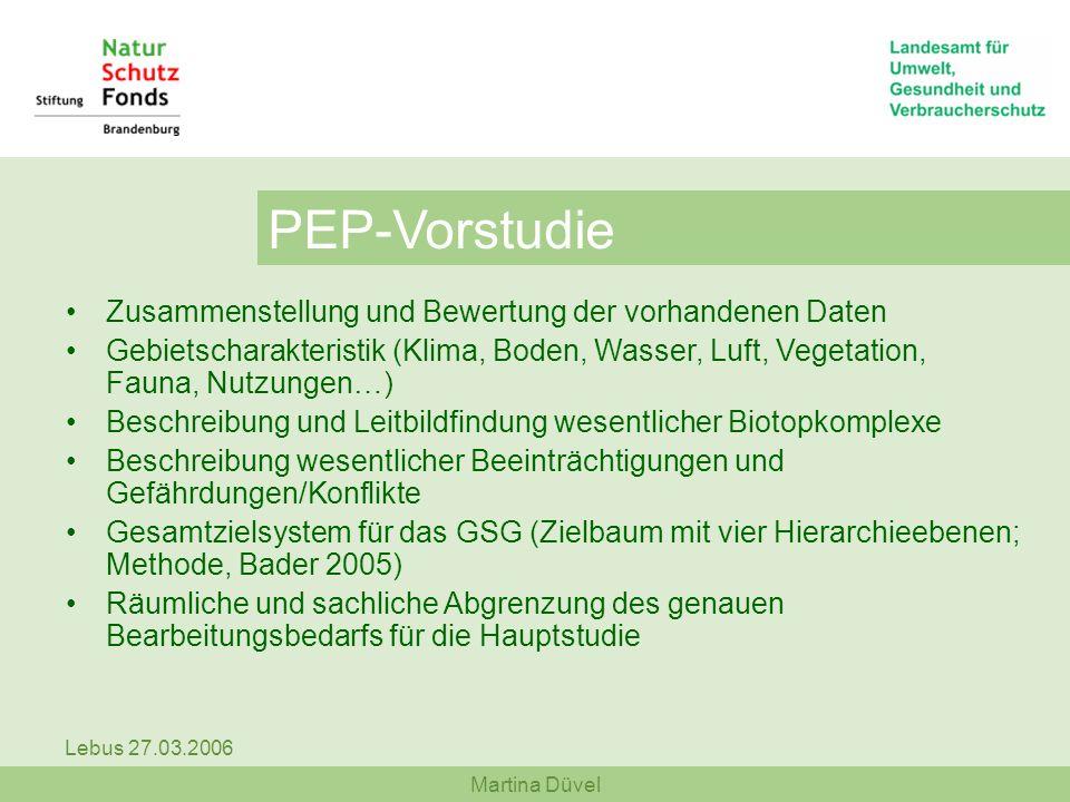 Martina Düvel Lebus 27.03.2006 PEP-Vorstudie Zusammenstellung und Bewertung der vorhandenen Daten Gebietscharakteristik (Klima, Boden, Wasser, Luft, V