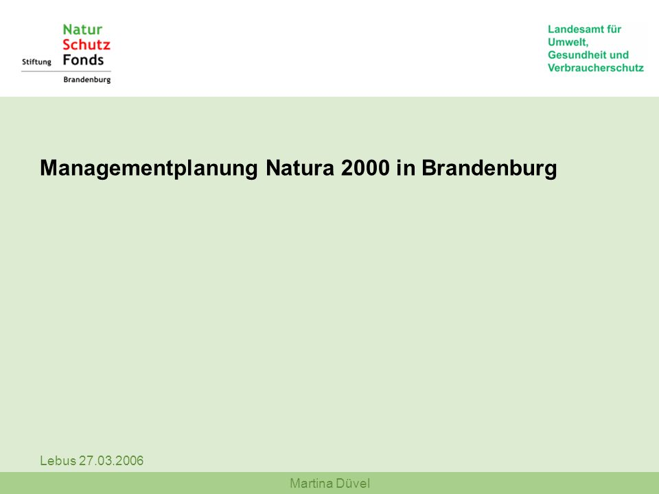 Martina Düvel Lebus 27.03.2006 Rot: FFH-Gebiete Blau: Vogelschutzgebiete Grün: Großschutzgebiete Managementplanung Natura 2000 in Brandenburg Förderperiode 2007-2013 - Acht Großschutzgebiete (Organisation über LUA Abt.