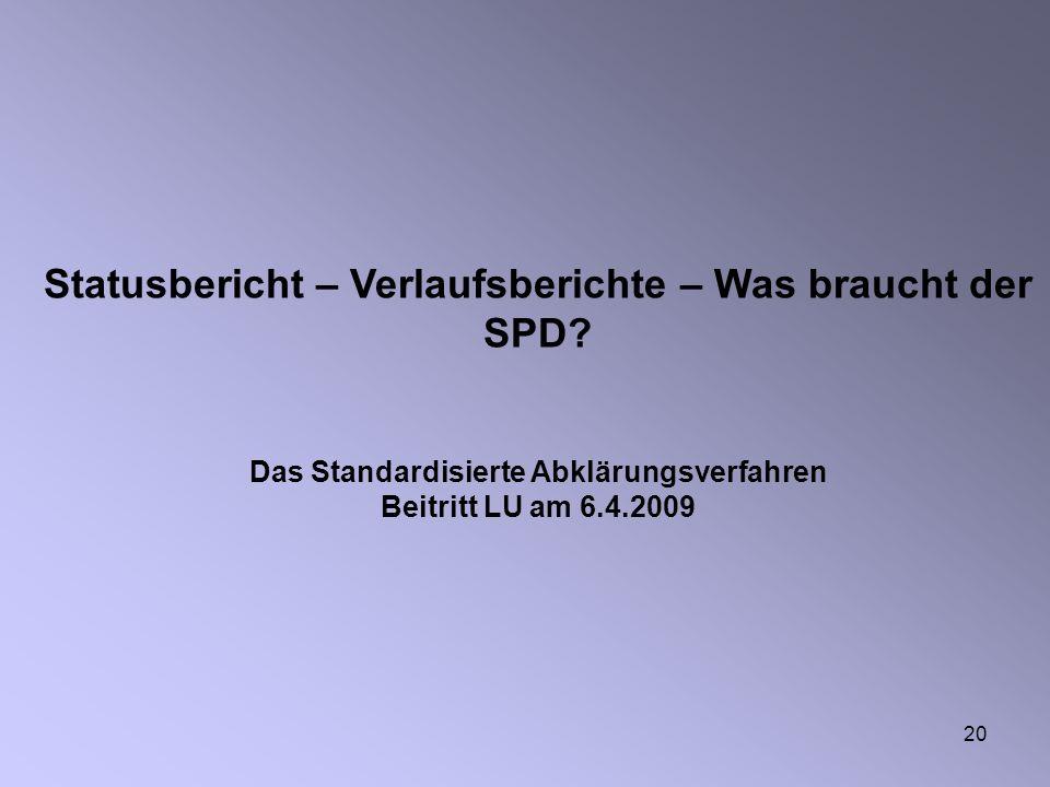 20 Statusbericht – Verlaufsberichte – Was braucht der SPD.