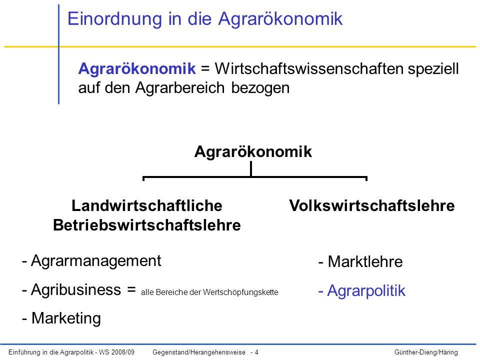 Einführung in die Agrarpolitik - WS 2008/09Gegenstand/Herangehensweise - 4 Günther-Dieng/Häring Agrarökonomik = Wirtschaftswissenschaften speziell auf den Agrarbereich bezogen Agrarökonomik Landwirtschaftliche Betriebswirtschaftslehre Volkswirtschaftslehre - Agrarmanagement - Agribusiness = alle Bereiche der Wertschöpfungskette - Marketing - Marktlehre - Agrarpolitik Einordnung in die Agrarökonomik