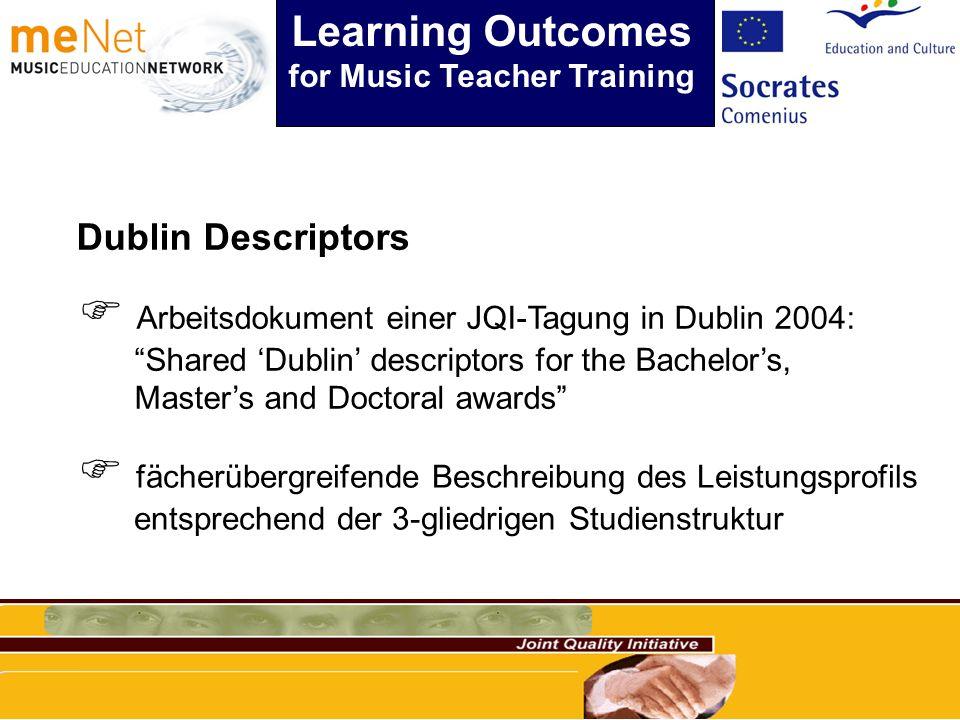 Dublin Descriptors Arbeitsdokument einer JQI-Tagung in Dublin 2004: Shared Dublin descriptors for the Bachelors, Masters and Doctoral awards fächerübergreifende Beschreibung des Leistungsprofils entsprechend der 3-gliedrigen Studienstruktur Learning Outcomes for Music Teacher Training