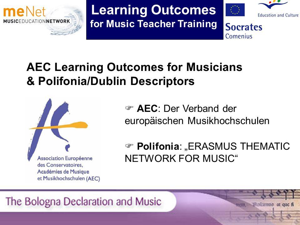 AEC Learning Outcomes for Musicians & Polifonia/Dublin Descriptors Learning Outcomes for Music Teacher Training AEC: Der Verband der europäischen Musikhochschulen Polifonia: ERASMUS THEMATIC NETWORK FOR MUSIC