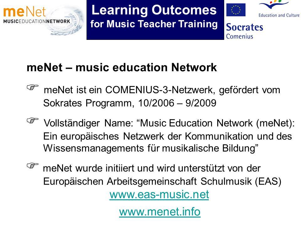 meNet – music education Network meNet ist ein COMENIUS-3-Netzwerk, gefördert vom Sokrates Programm, 10/2006 – 9/2009 Vollständiger Name: Music Education Network (meNet): Ein europäisches Netzwerk der Kommunikation und des Wissensmanagements für musikalische Bildung meNet wurde initiiert und wird unterstützt von der Europäischen Arbeitsgemeinschaft Schulmusik (EAS) www.eas-music.net www.menet.info Learning Outcomes for Music Teacher Training