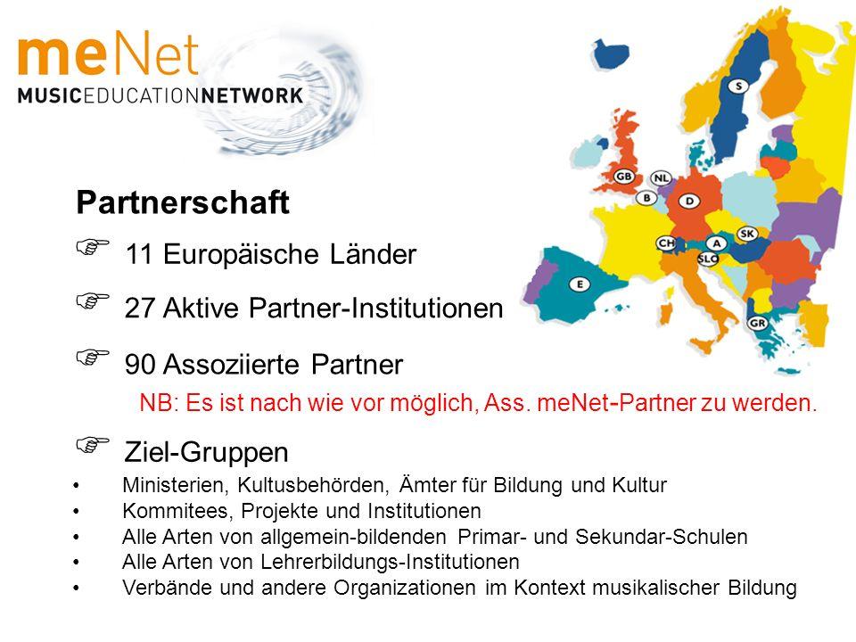 Partnerschaft 11 Europäische Länder 27 Aktive Partner-Institutionen Ziel-Gruppen Ministerien, Kultusbehörden, Ämter für Bildung und Kultur Kommitees,