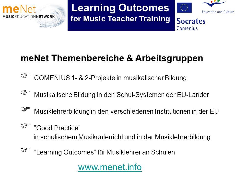 meNet Themenbereiche & Arbeitsgruppen COMENIUS 1- & 2-Projekte in musikalischer Bildung Musikalische Bildung in den Schul-Systemen der EU-Länder Musik