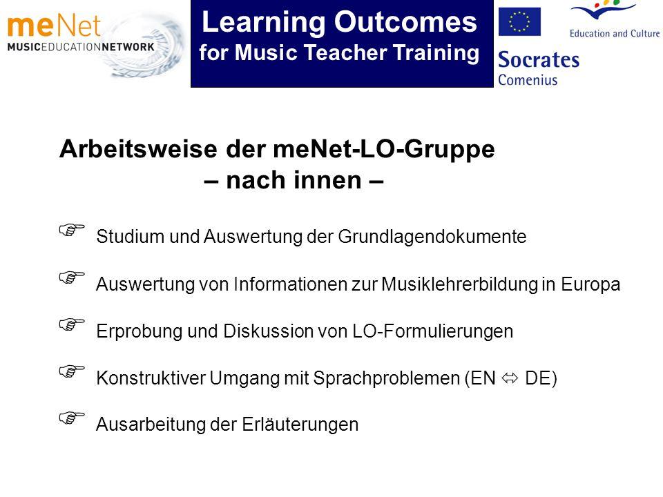 Arbeitsweise der meNet-LO-Gruppe – nach innen – Studium und Auswertung der Grundlagendokumente Auswertung von Informationen zur Musiklehrerbildung in