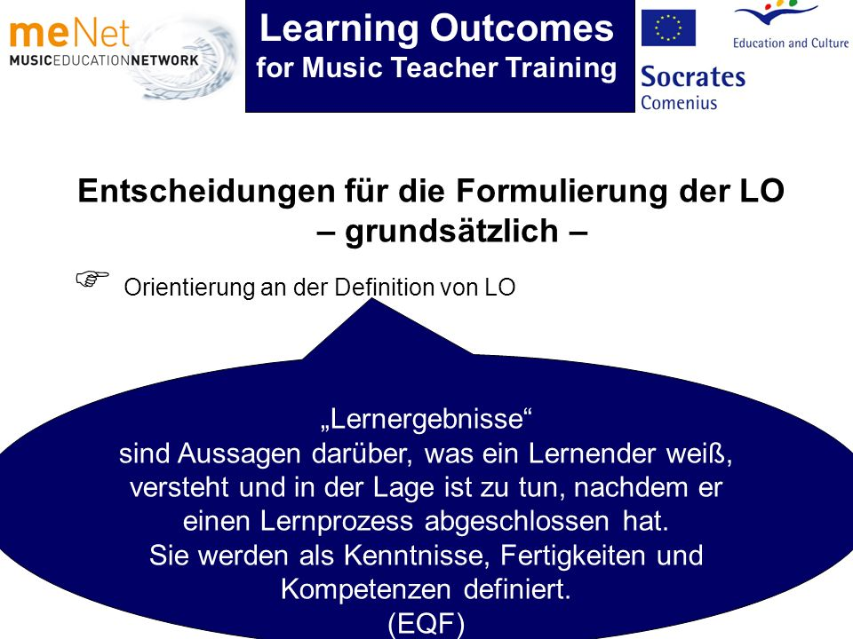 Orientierung an der Definition von LO Lernergebnisse sind Aussagen darüber, was ein Lernender weiß, versteht und in der Lage ist zu tun, nachdem er ei