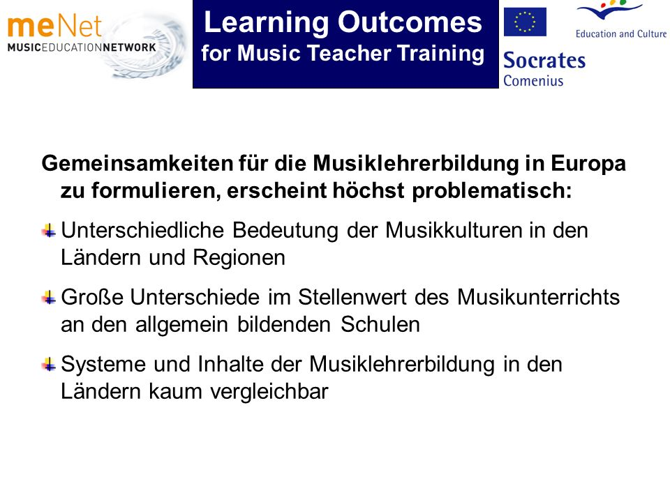 Gemeinsamkeiten für die Musiklehrerbildung in Europa zu formulieren, erscheint höchst problematisch: Unterschiedliche Bedeutung der Musikkulturen in d