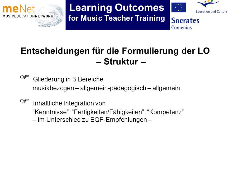 Entscheidungen für die Formulierung der LO – Struktur – Inhaltliche Integration von Kenntnisse, Fertigkeiten/Fähigkeiten, Kompetenz – im Unterschied z
