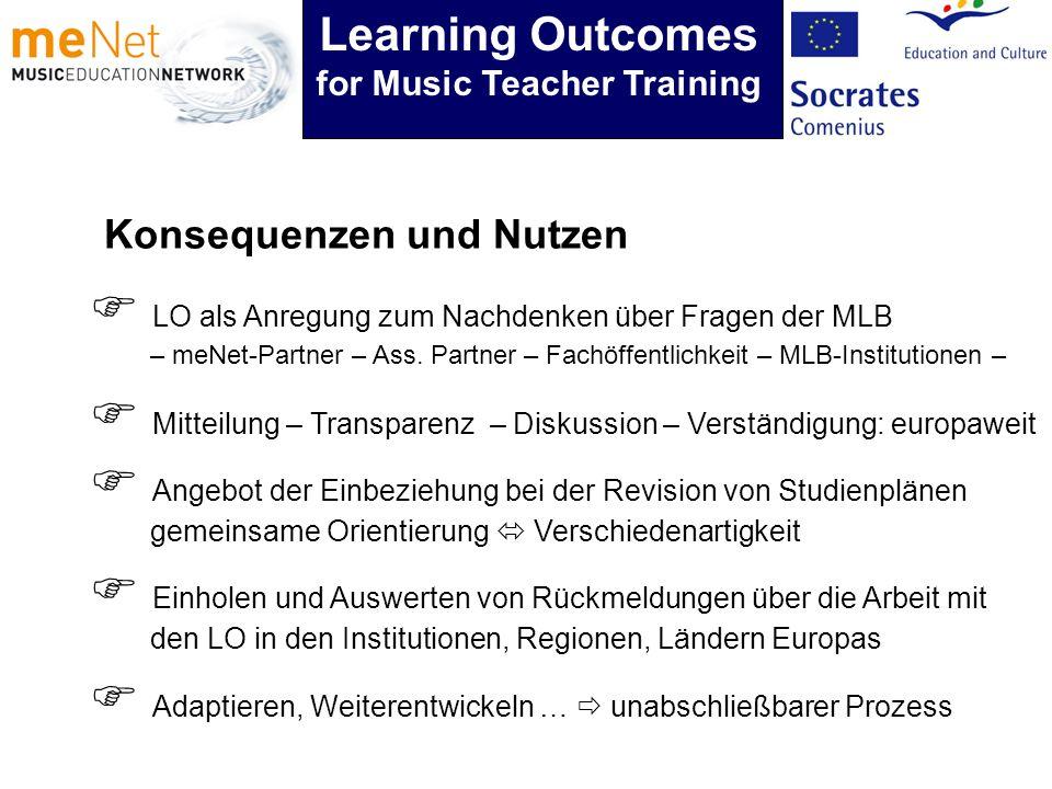 Konsequenzen und Nutzen Angebot der Einbeziehung bei der Revision von Studienplänen gemeinsame Orientierung Verschiedenartigkeit Learning Outcomes for