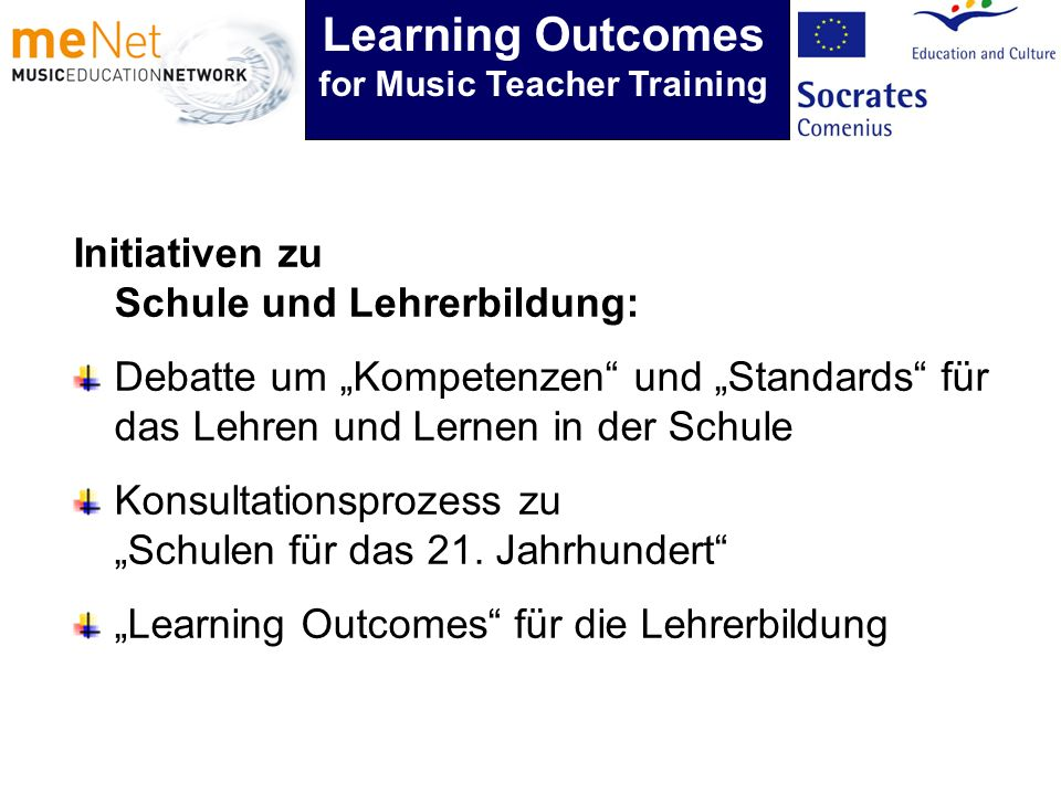 Initiativen zu Schule und Lehrerbildung: Debatte um Kompetenzen und Standards für das Lehren und Lernen in der Schule Konsultationsprozess zu Schulen