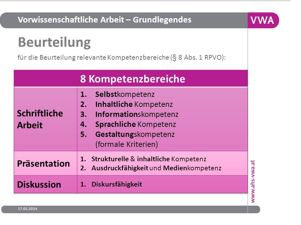 Vorwissenschaftliche Arbeit – Grundlegendes 17.05.201415 für die Beurteilung relevante Kompetenzbereiche (§ 8 Abs. 1 RPVO): Beurteilung