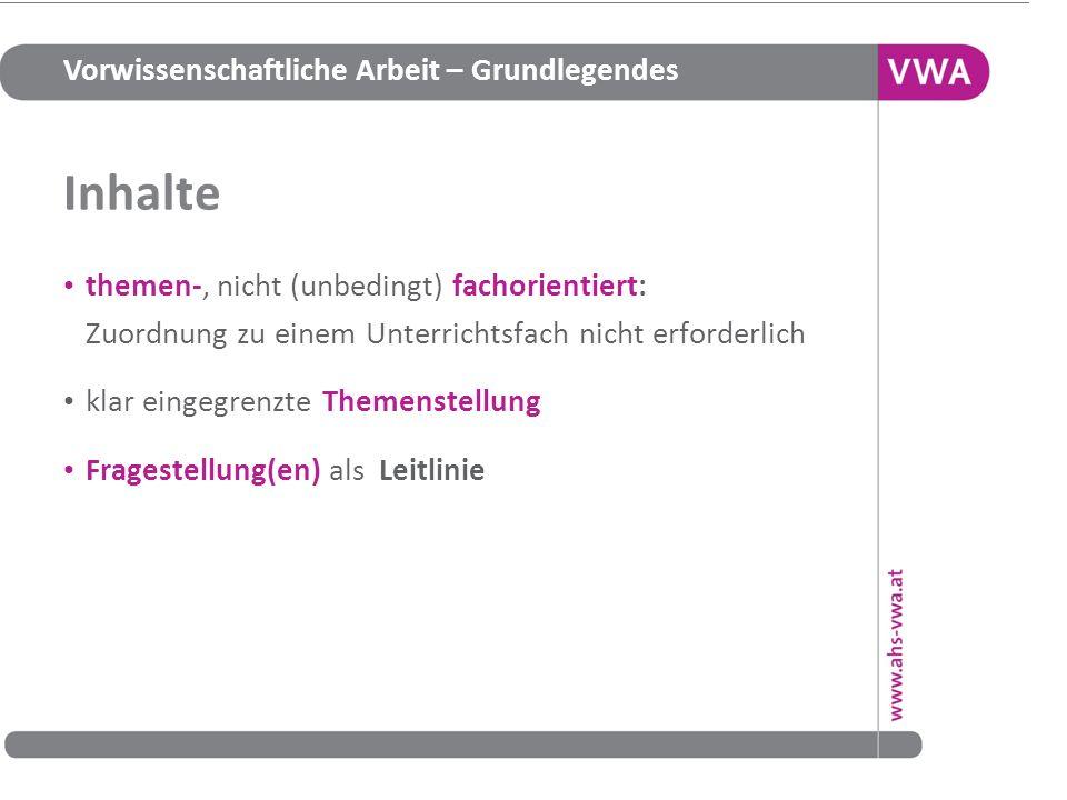 Vorwissenschaftliche Arbeit – Grundlegendes Quellen Informationsplattform http://www.ahs-vwa.at/ Gesetzestext http://www.bmukk.gv.at/medienpool/19465/schug_nov_2010.pdf Verordnungsentwurf http://www.bmukk.gv.at/schulen/recht/erk/vo_rp_ahs.xml Verordnungsentwurf – Erläuterungen http://www.bmukk.gv.at/medienpool/21912/vo_rp_mat.pdf Handreichung http://www.bmukk.gv.at/medienpool/22700/reifepruefung_ahs_lfvwa.pdf 18