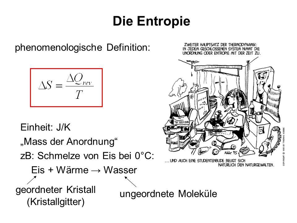 Die Entropie phenomenologische Definition: Einheit: J/K Mass der Anordnung zB: Schmelze von Eis bei 0°C: Eis + Wärme Wasser geordneter Kristall (Krist