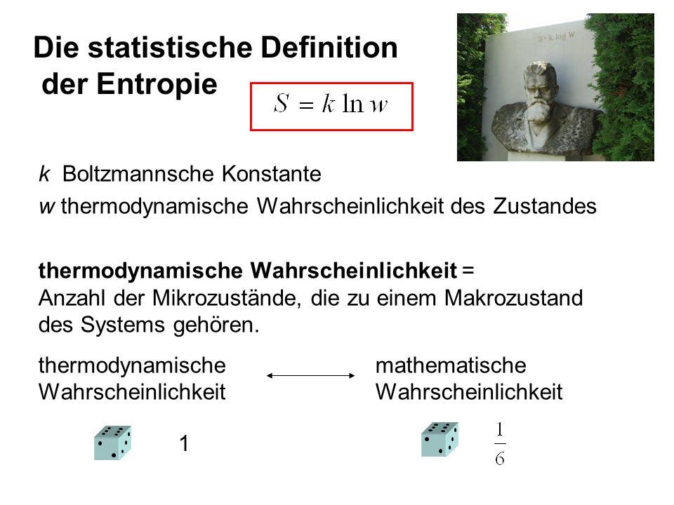 Die statistische Definition der Entropie k Boltzmannsche Konstante w thermodynamische Wahrscheinlichkeit des Zustandes thermodynamische Wahrscheinlich