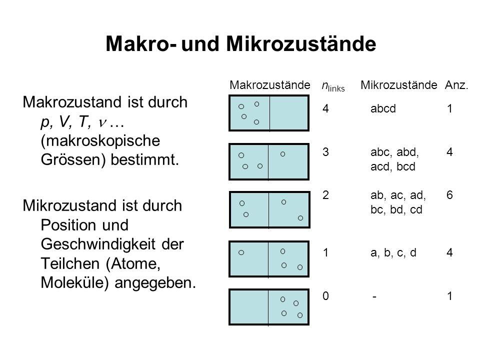 Makro- und Mikrozustände Makrozustand ist durch p, V, T, … (makroskopische Grössen) bestimmt. Mikrozustand ist durch Position und Geschwindigkeit der