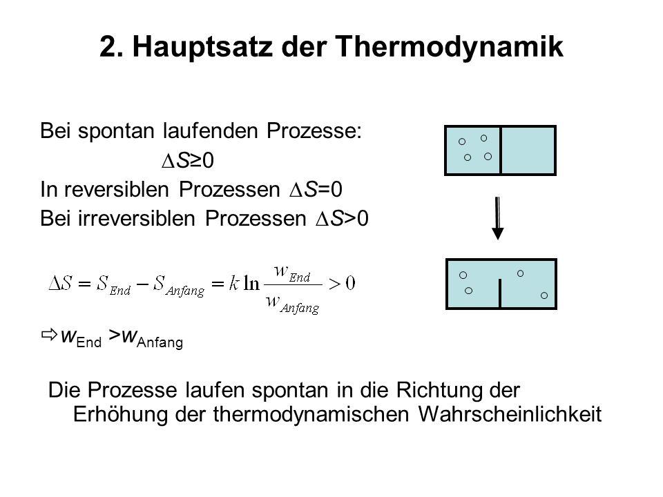 2. Hauptsatz der Thermodynamik Bei spontan laufenden Prozesse: S0 In reversiblen Prozessen S=0 Bei irreversiblen Prozessen S>0 w End >w Anfang Die Pro