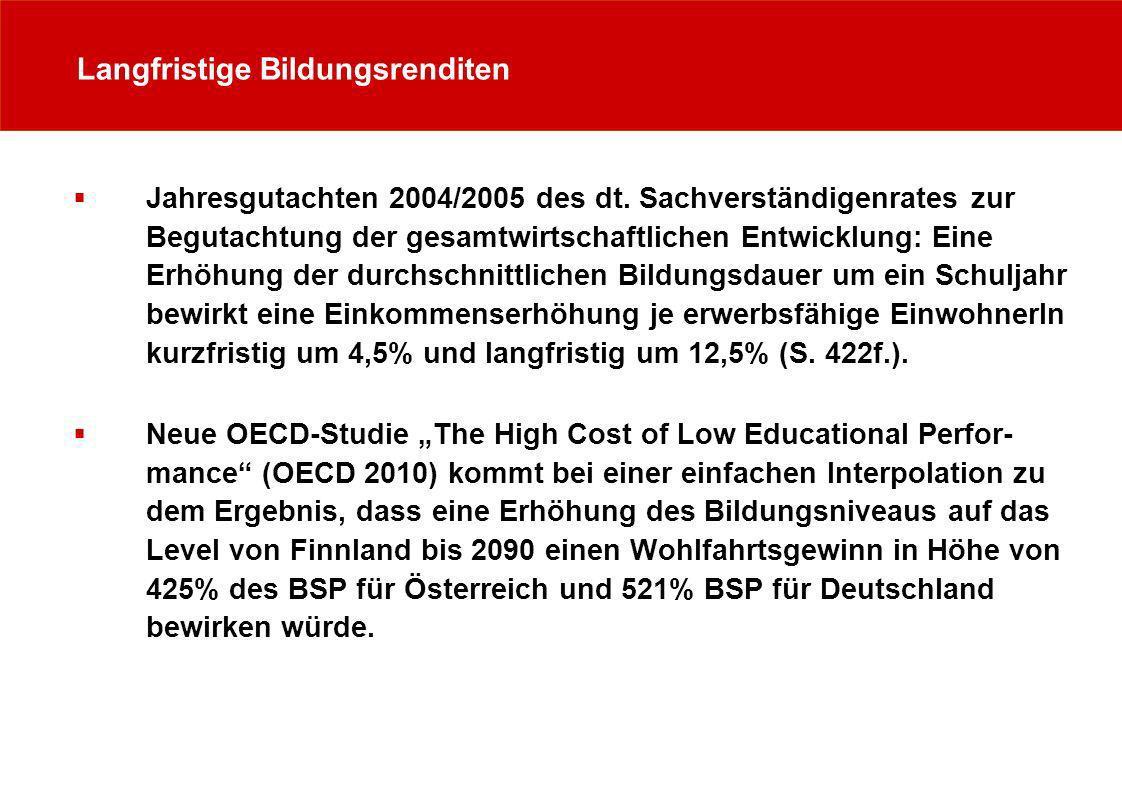 Langfristige Bildungsrenditen Jahresgutachten 2004/2005 des dt. Sachverständigenrates zur Begutachtung der gesamtwirtschaftlichen Entwicklung: Eine Er