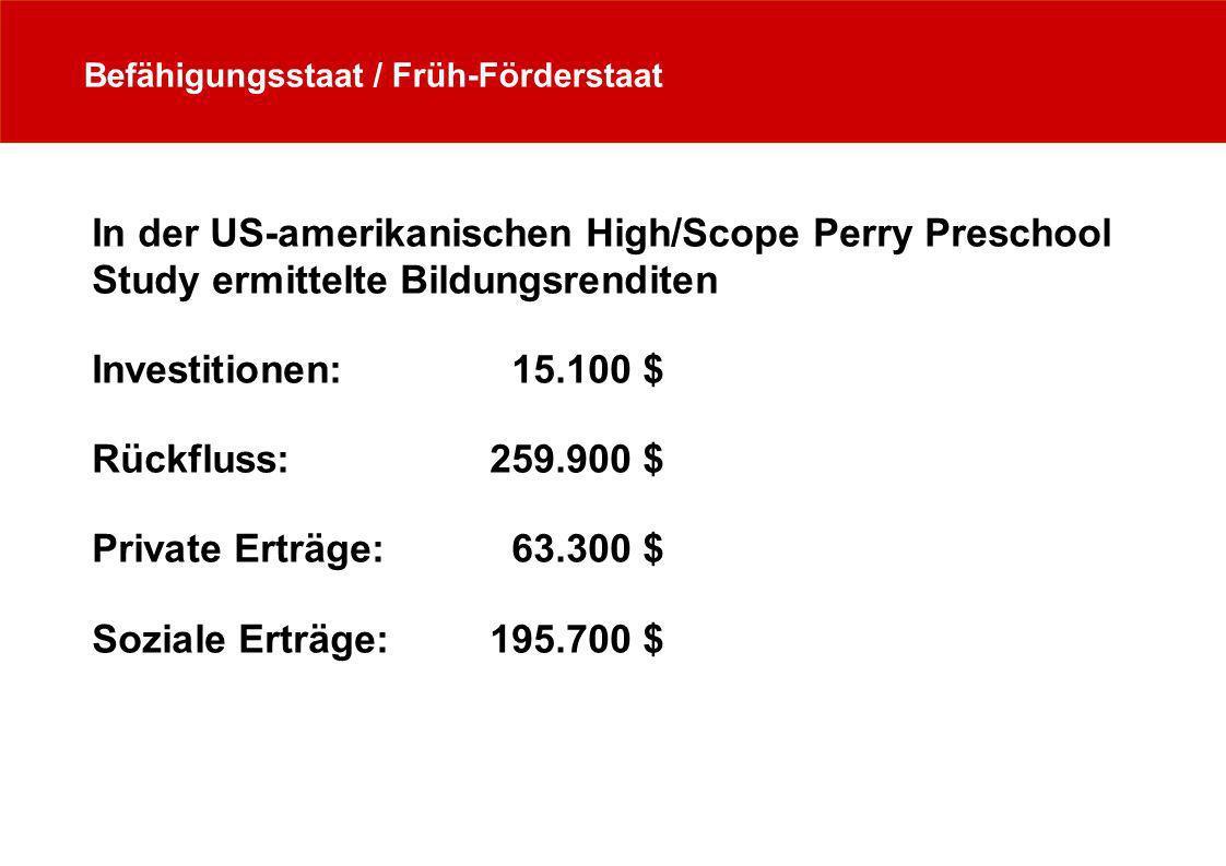 Befähigungsstaat / Früh-Förderstaat In der US-amerikanischen High/Scope Perry Preschool Study ermittelte Bildungsrenditen Investitionen: 15.100 $ Rück