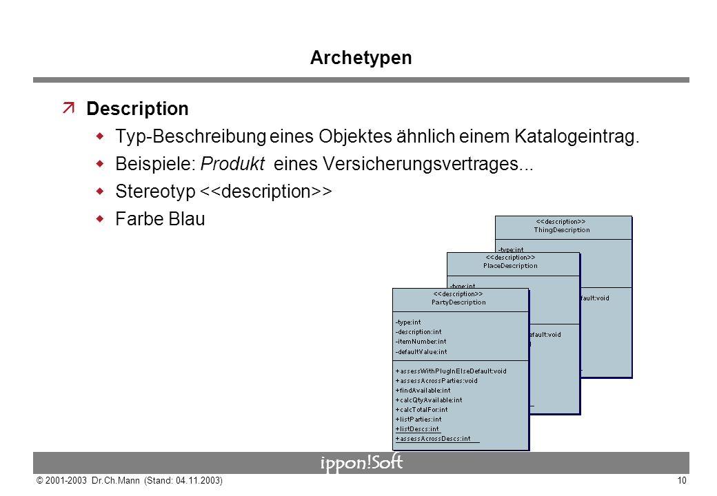 ippon!Soft © 2001-2003 Dr.Ch.Mann (Stand: 04.11.2003)10 Archetypen äDescription Typ-Beschreibung eines Objektes ähnlich einem Katalogeintrag. Beispiel