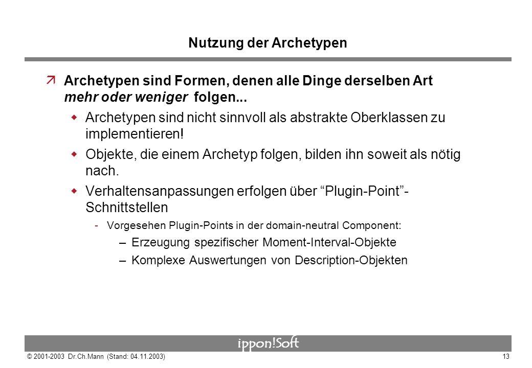ippon!Soft © 2001-2003 Dr.Ch.Mann (Stand: 04.11.2003)13 Nutzung der Archetypen äArchetypen sind Formen, denen alle Dinge derselben Art mehr oder wenig