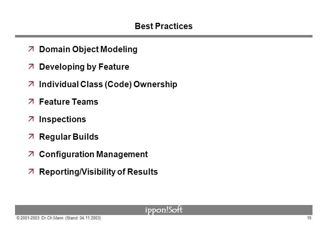ippon!Soft © 2001-2003 Dr.Ch.Mann (Stand: 04.11.2003)19 Best Practices äDomain Object Modeling äDeveloping by Feature äIndividual Class (Code) Ownersh