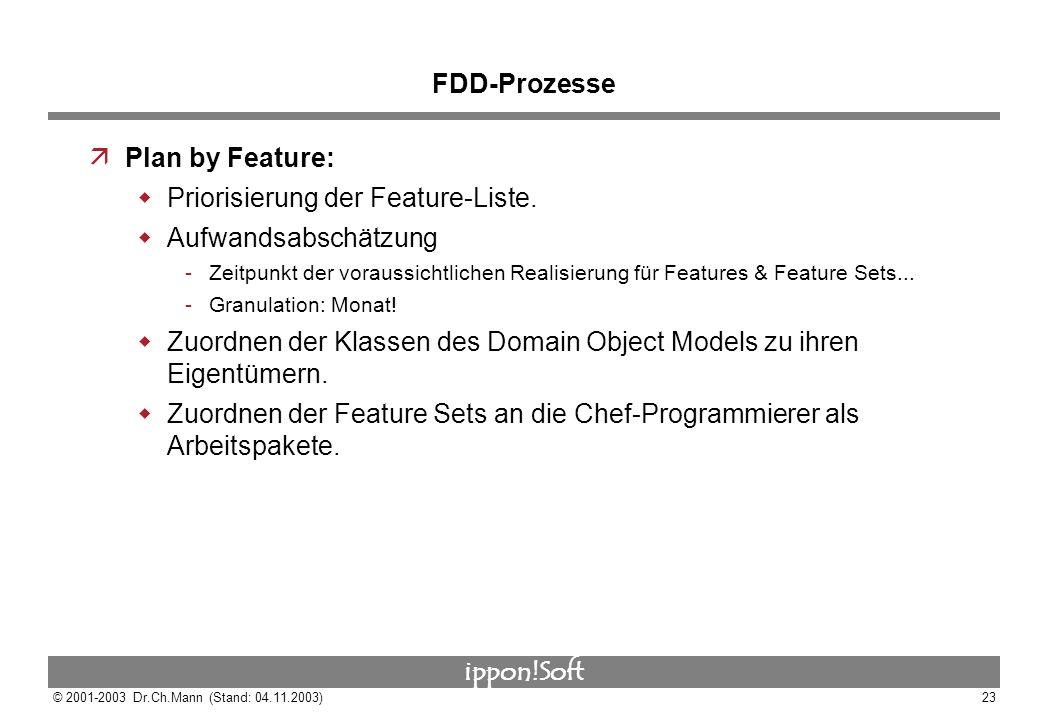 ippon!Soft © 2001-2003 Dr.Ch.Mann (Stand: 04.11.2003)23 FDD-Prozesse äPlan by Feature: Priorisierung der Feature-Liste. Aufwandsabschätzung Zeitpunkt
