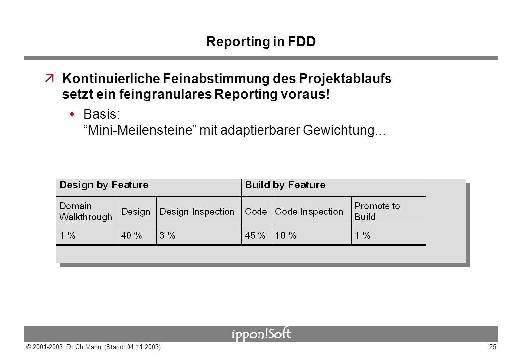 ippon!Soft © 2001-2003 Dr.Ch.Mann (Stand: 04.11.2003)25 Reporting in FDD äKontinuierliche Feinabstimmung des Projektablaufs setzt ein feingranulares R