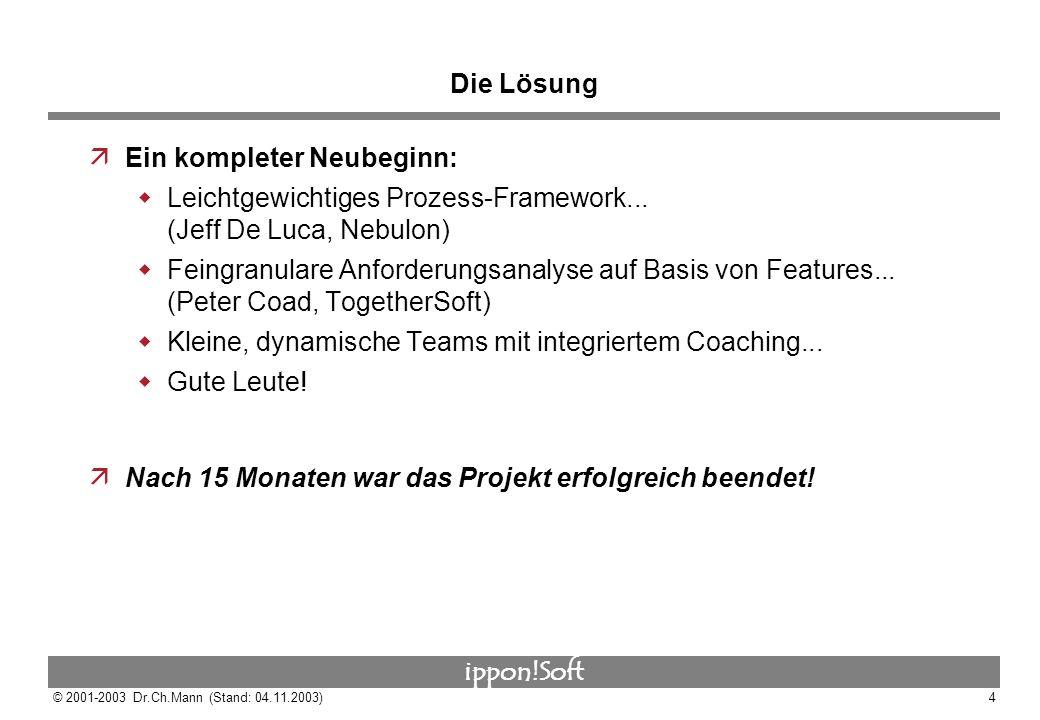 ippon!Soft © 2001-2003 Dr.Ch.Mann (Stand: 04.11.2003)4 Die Lösung äEin kompleter Neubeginn: Leichtgewichtiges Prozess-Framework... (Jeff De Luca, Nebu