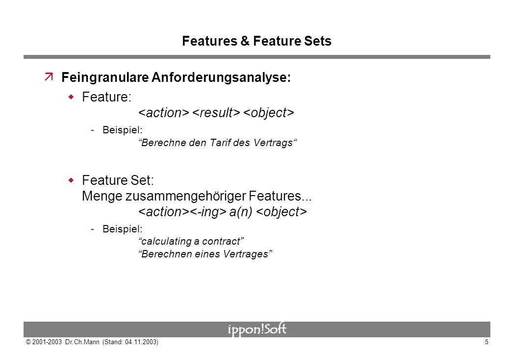 ippon!Soft © 2001-2003 Dr.Ch.Mann (Stand: 04.11.2003)5 Features & Feature Sets äFeingranulare Anforderungsanalyse: Feature: Beispiel: Berechne den Ta