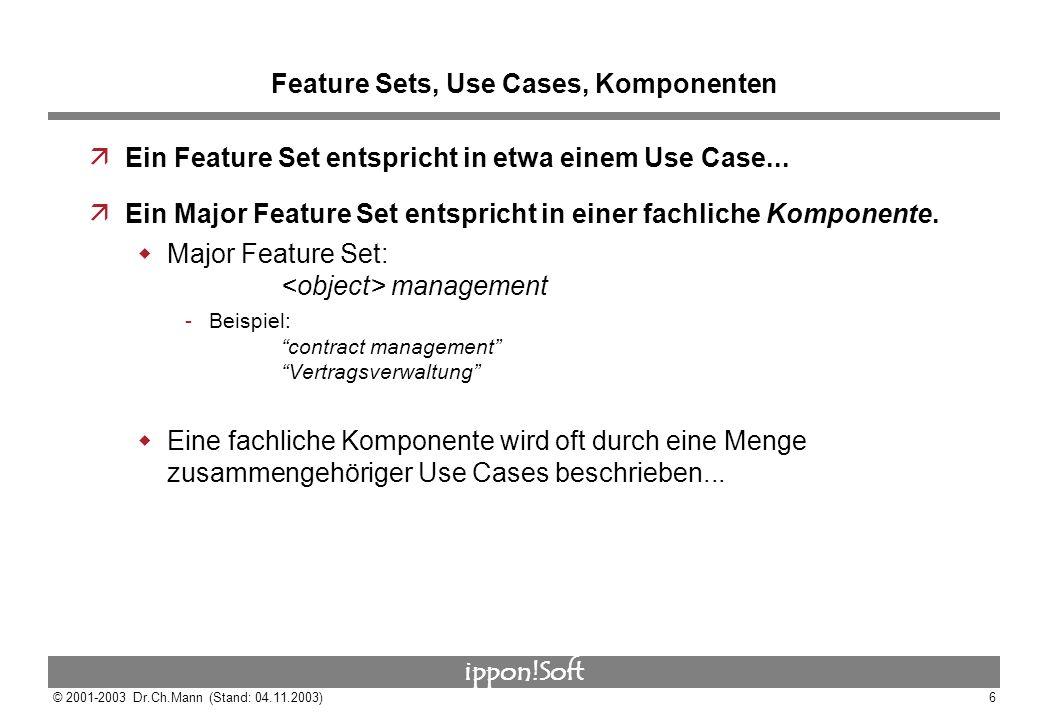 ippon!Soft © 2001-2003 Dr.Ch.Mann (Stand: 04.11.2003)6 Feature Sets, Use Cases, Komponenten äEin Feature Set entspricht in etwa einem Use Case... äEin