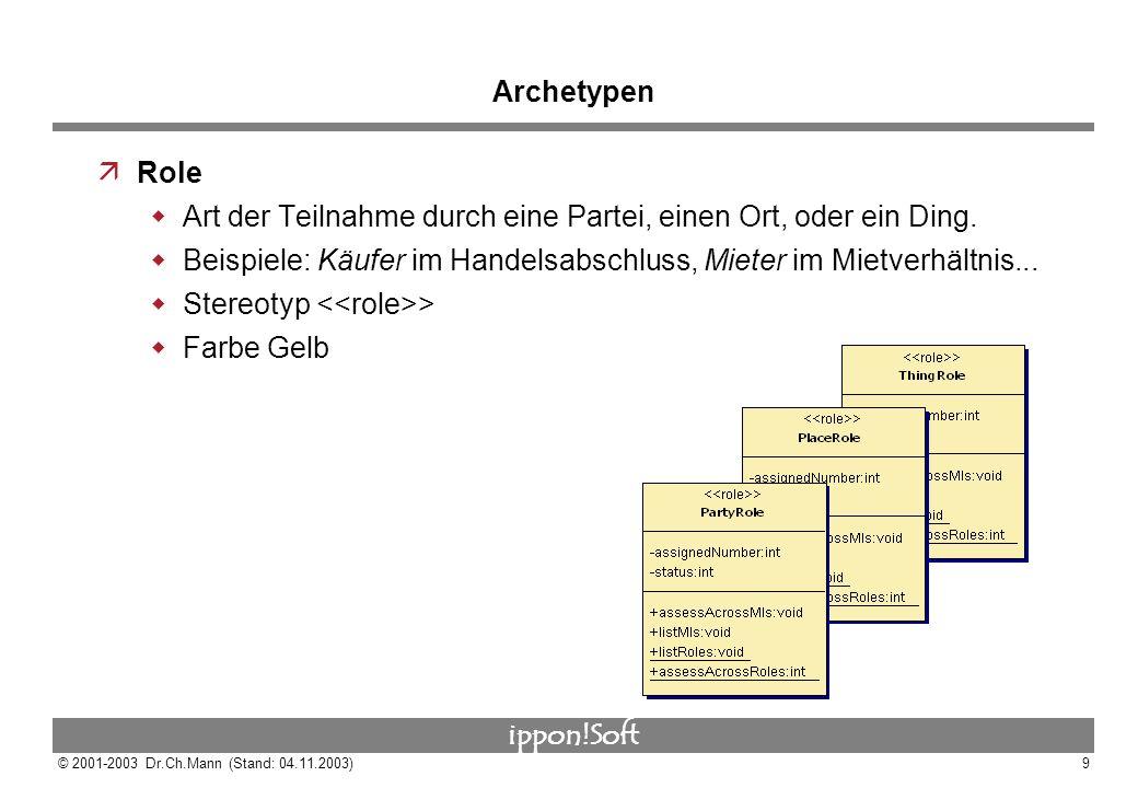 ippon!Soft © 2001-2003 Dr.Ch.Mann (Stand: 04.11.2003)9 Archetypen äRole Art der Teilnahme durch eine Partei, einen Ort, oder ein Ding. Beispiele: Käuf