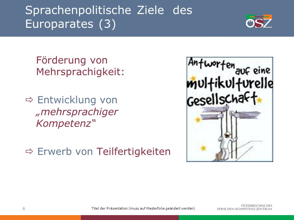 Titel der Präsentation (muss auf Masterfolie geändert werden) 6 Sprachenpolitische Ziele des Europarates (3) Förderung von Mehrsprachigkeit: Entwicklu