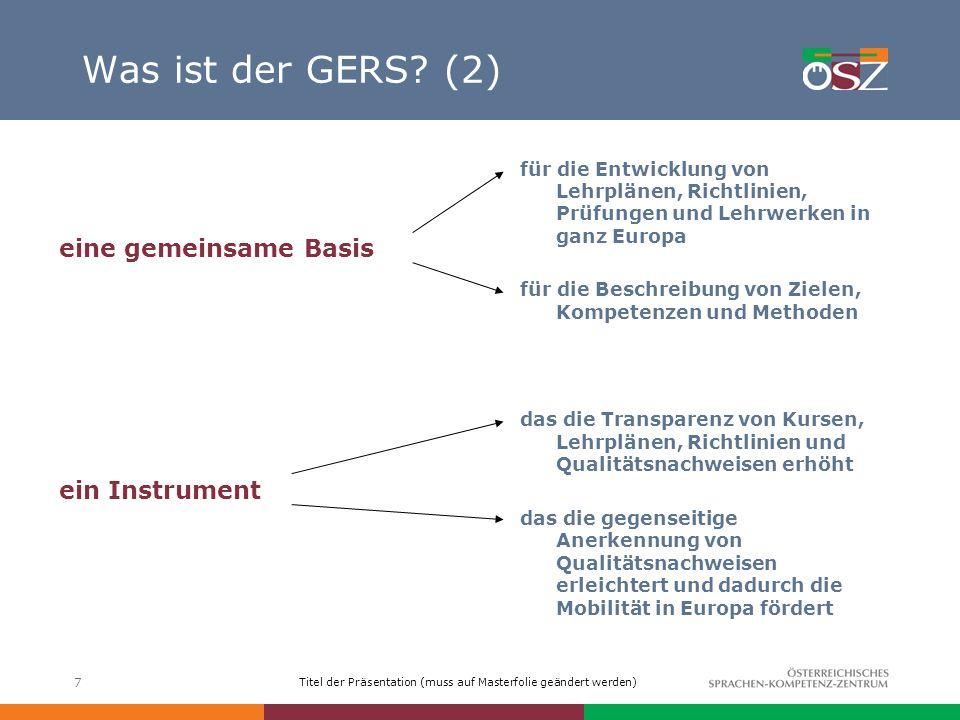 Titel der Präsentation (muss auf Masterfolie geändert werden) 18 GERS: Gemeinsame Referenzniveaus (2) 6 Referenzniveaus A (Elementare Sprachverwendung): A1, A2 B (Selbstständige Sprachverwendung): B1,B2 C (Kompetente Sprachverwendung) C1,C2 für 6 kommunikative Aktivitäten Auditive und visuelle Rezeption (Hören, Lesen) Mündliche Interaktion (An Gesprächen teilnehmen) Mündliche Produktion (Zusammenhängendes Sprechen) Mündliche und schriftliche Interaktion (Schreiben)