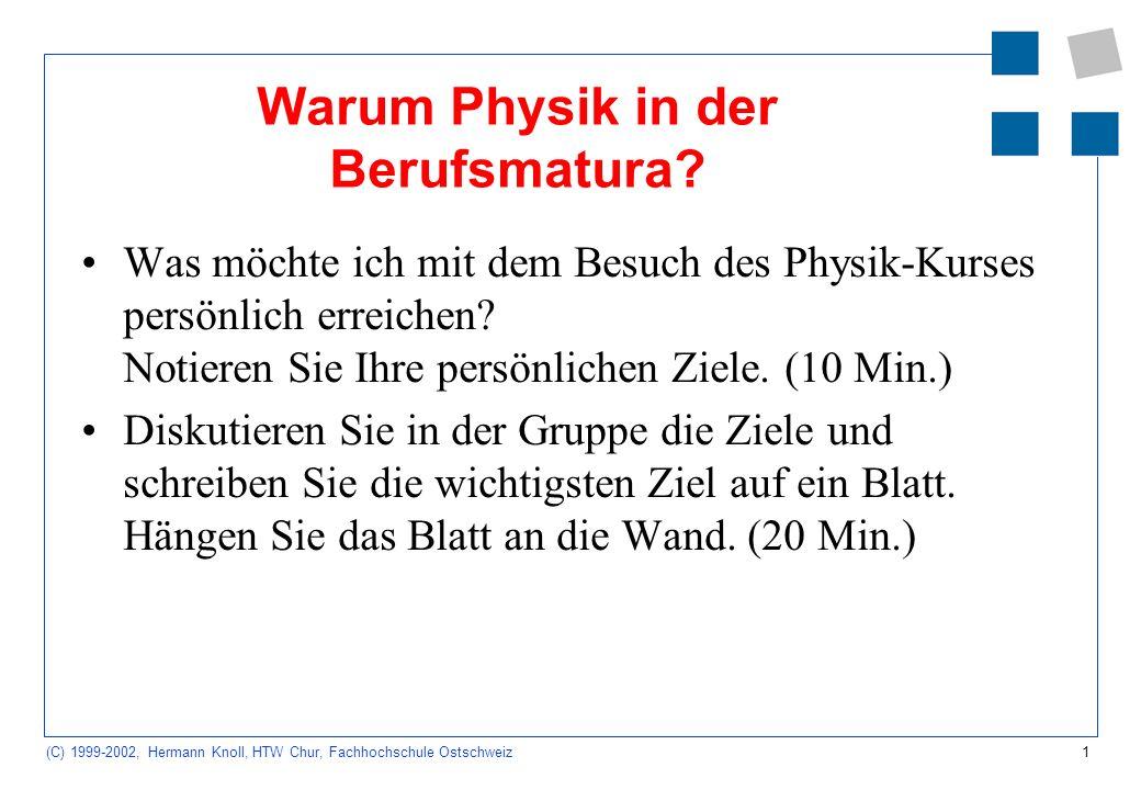 1 (C) 1999-2002, Hermann Knoll, HTW Chur, Fachhochschule Ostschweiz Warum Physik in der Berufsmatura.