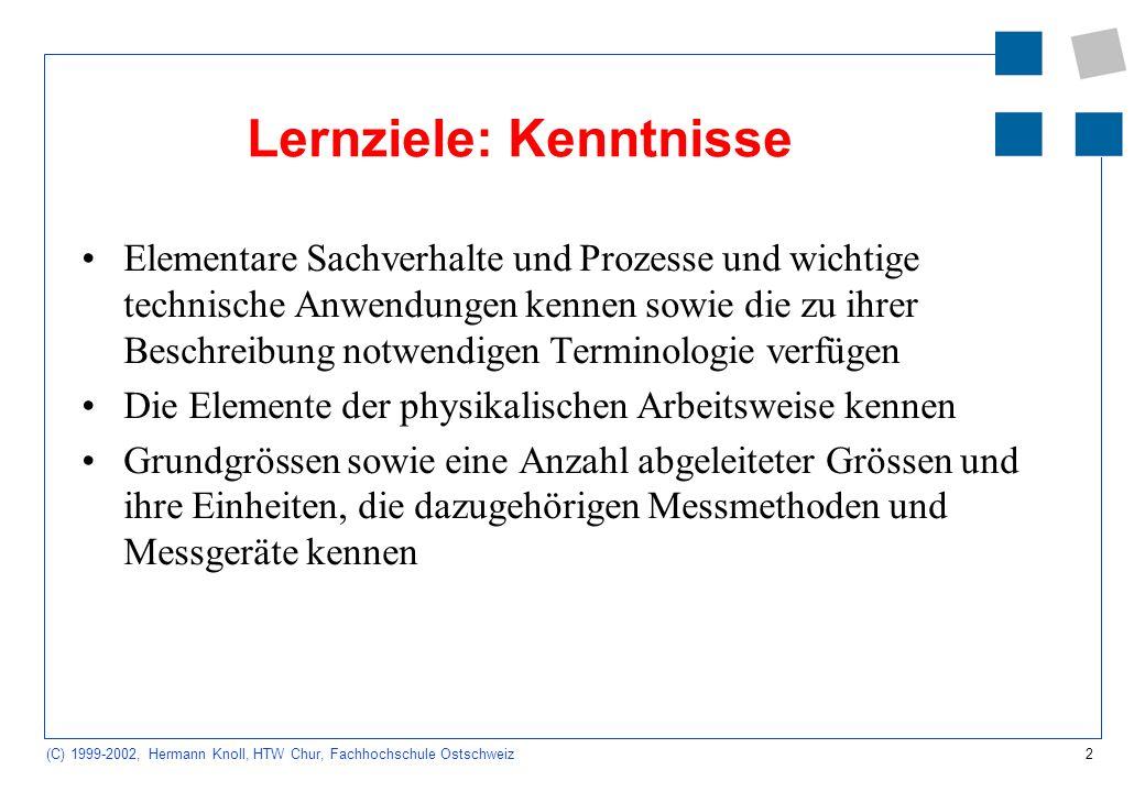 2 (C) 1999-2002, Hermann Knoll, HTW Chur, Fachhochschule Ostschweiz Lernziele: Kenntnisse Elementare Sachverhalte und Prozesse und wichtige technische Anwendungen kennen sowie die zu ihrer Beschreibung notwendigen Terminologie verfügen Die Elemente der physikalischen Arbeitsweise kennen Grundgrössen sowie eine Anzahl abgeleiteter Grössen und ihre Einheiten, die dazugehörigen Messmethoden und Messgeräte kennen