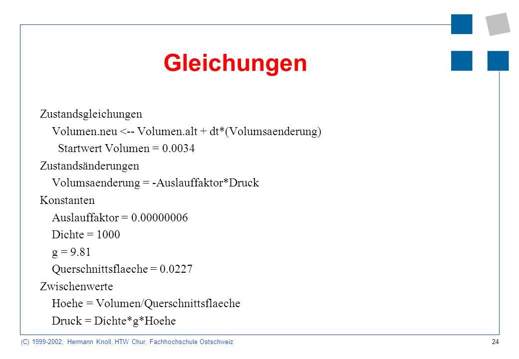 24 (C) 1999-2002, Hermann Knoll, HTW Chur, Fachhochschule Ostschweiz Gleichungen Zustandsgleichungen Volumen.neu <-- Volumen.alt + dt*(Volumsaenderung) Startwert Volumen = 0.0034 Zustandsänderungen Volumsaenderung = -Auslauffaktor*Druck Konstanten Auslauffaktor = 0.00000006 Dichte = 1000 g = 9.81 Querschnittsflaeche = 0.0227 Zwischenwerte Hoehe = Volumen/Querschnittsflaeche Druck = Dichte*g*Hoehe