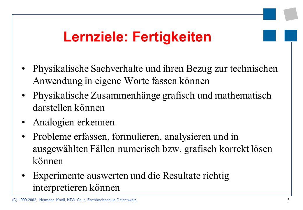 14 (C) 1999-2002, Hermann Knoll, HTW Chur, Fachhochschule Ostschweiz Modellierung