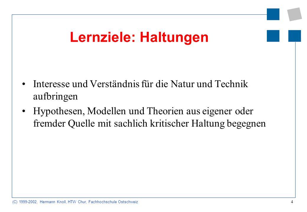 4 (C) 1999-2002, Hermann Knoll, HTW Chur, Fachhochschule Ostschweiz Lernziele: Haltungen Interesse und Verständnis für die Natur und Technik aufbringen Hypothesen, Modellen und Theorien aus eigener oder fremder Quelle mit sachlich kritischer Haltung begegnen