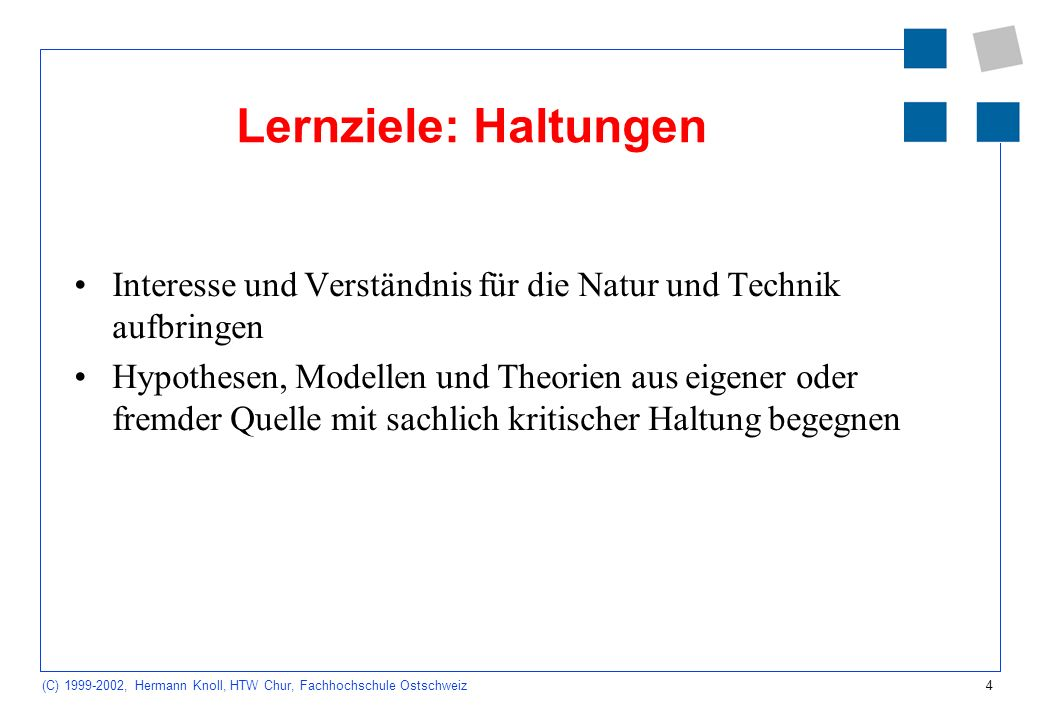 5 (C) 1999-2002, Hermann Knoll, HTW Chur, Fachhochschule Ostschweiz Lerninhalte Dynamische Systeme Hydraulik Elektrizität Mechanik Wärme