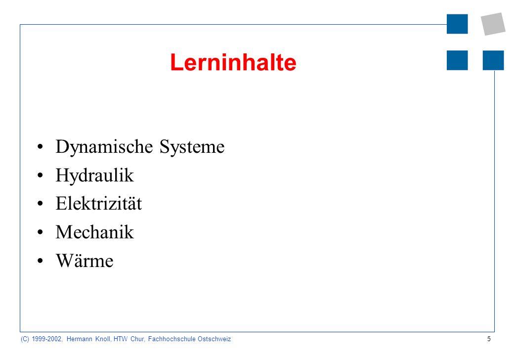 26 (C) 1999-2002, Hermann Knoll, HTW Chur, Fachhochschule Ostschweiz Skript Systemdynamik Seminar für Schulpädagogik Heidelberg: Simulation dynamischer Systeme (nach Skripten von Endres, Fisches): http://www.seminar-heidelberg.de/Gymnasium/Mathe/simdyn1.html http://www.seminar-heidelberg.de/Gymnasium/Mathe/simdyn1.html