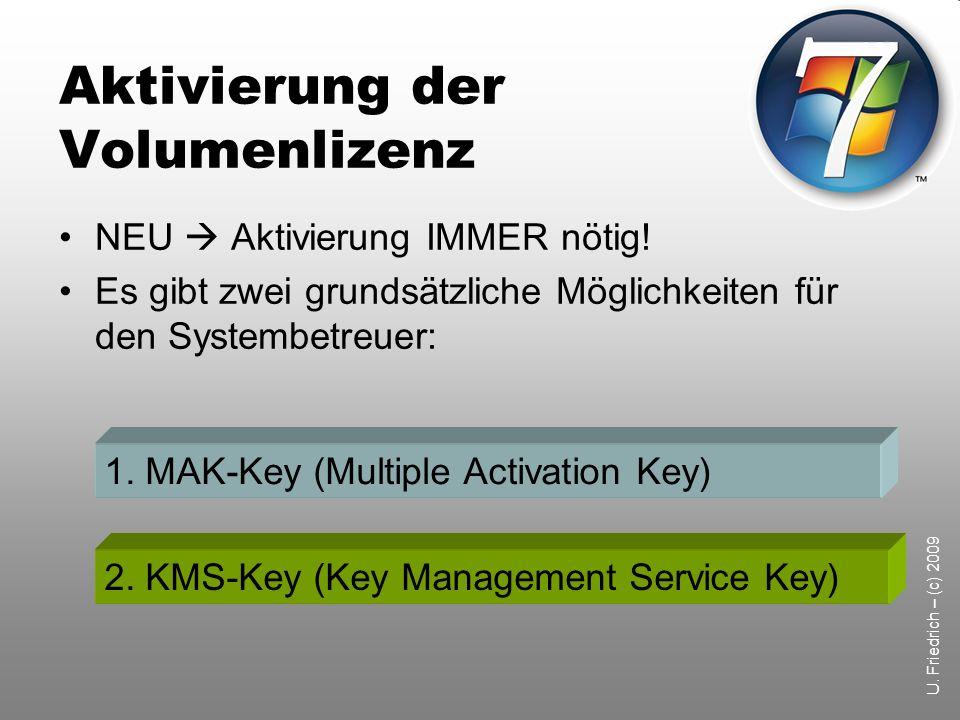 U.Friedrich – (c) 2009 Aktivierung der Volumenlizenz NEU Aktivierung IMMER nötig.