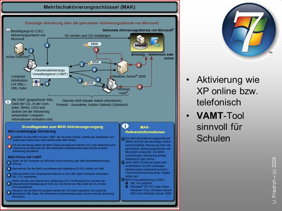 U. Friedrich – (c) 2009 Aktivierung wie XP online bzw. telefonisch VAMT-Tool sinnvoll für Schulen